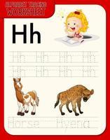 feuille de calcul de traçage alphabet avec lettre et vocabulaire vecteur