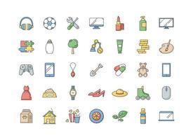 d & # 39; icônes de couleur rgb des départements de commerce électronique