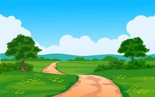 route dans une belle campagne vecteur