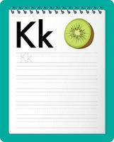 feuille de calcul de traçage alphabet avec lettre k et k