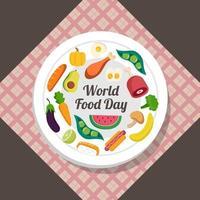 assiette de la journée mondiale de la nourriture vecteur