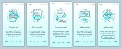 page de l'application mobile de réservation de croisière en ligne vecteur