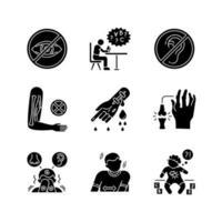 types de maladie jeu d'icônes de glyphe noir vecteur