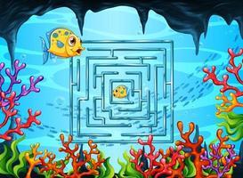 jeu de labyrinthe dans le modèle de thème sous-marin vecteur