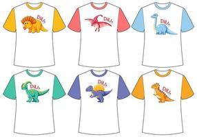ensemble d & # 39; écran de dinosaure de couleur différente sur des t-shirts