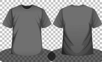 T-shirt à manches courtes gris ou noir devant et dos vecteur
