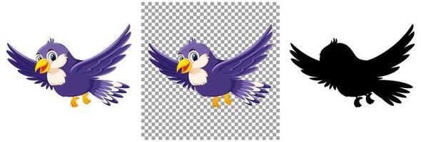 personnage de dessin animé mignon oiseau violet