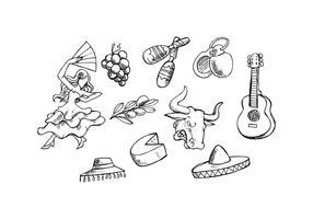 Vecteur libre d'icônes d'espadrille d'Espagne