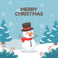 bonhomme de neige heureux entouré de flocons de neige vecteur