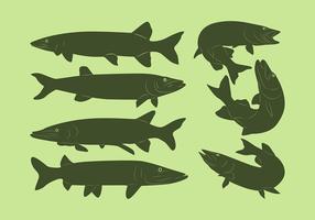 Muskie Fish silhouette vecteur gratuit
