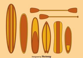 Vecteur de collection de paddleboard de dessin animé