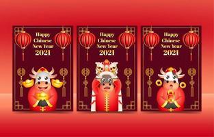 cartes de nouvel an chinois vecteur
