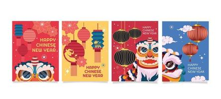 carte de nouvel an chinois coloré vecteur