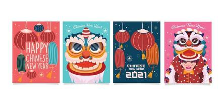 conception de cartes amusantes pour le nouvel an chinois vecteur