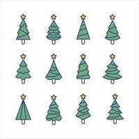 collection de concept de ligne d'arbre de noël vecteur