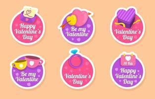 collection d'autocollants colorés pour la fête de la saint-valentin vecteur