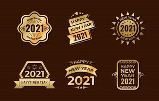 étiquettes dorées du nouvel an vecteur
