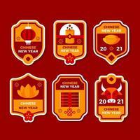 collection d'étiquettes de nouvel an chinois vecteur