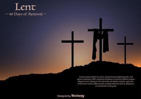 Vector Lent Banner pour la Pâque avec trois croix