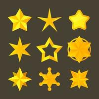collection d'étoiles jaunes brillantes vecteur