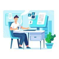 L'homme tient son café du matin en vérifiant son ordinateur vecteur