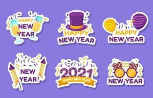 collection d'autocollants colorés de fête de bonne année vecteur