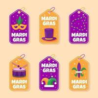 collection d'étiquettes de fête mardi gras coloré vecteur