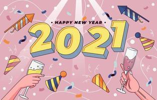 Pop art du nouvel an 2021 vecteur