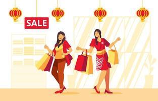 femmes, shopping, dans, centre commercial, pendant, événement, nouvel an chinois vecteur