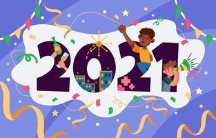 Fête du nouvel an 2021 vecteur