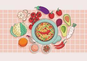 Molcajete et légumes vecteur