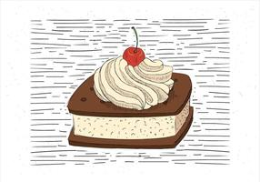 Illustration de gâteau à la main dessiné à main libre vecteur