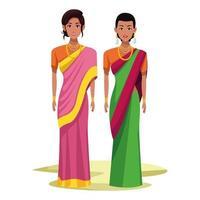 personnage de dessin animé avatar femmes indiennes vecteur
