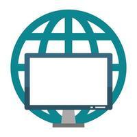écran de matériel informatique avec symbole de sphère globale