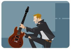 Guitariste avec son vecteur de guitare