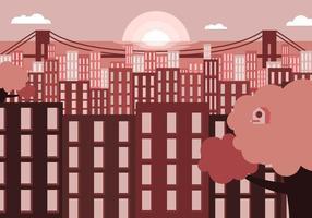 bronx paysage de la ville vecteur d'illustration plate