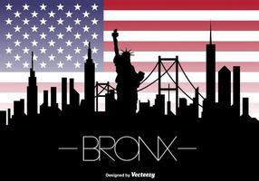 Vector The Bronx New York Skyline and American Flag