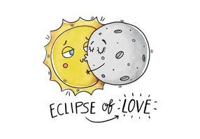 Caractère drôle du soleil et de la lune qui embrasse avec le vecteur Eclipse Joke