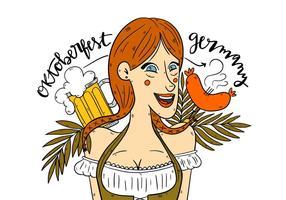 Cute German Oktoberfest Girl Vector