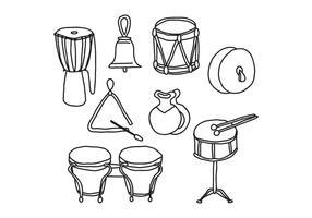 Instruments à percussion Doodles vecteur