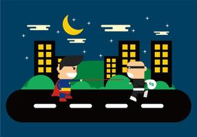 Super Heroes In The City Vector