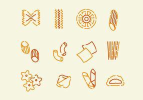 Icône variée de pâtes vecteur