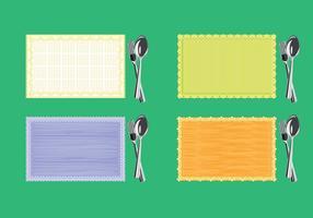 Ensemble de serviette ou serviette avec fourchette et couteau sur la vue de dessus vecteur