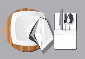 Serviette en tissu sur fond en bois ou Serviette vecteur