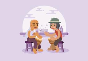 Deux musiciens pratiquant Djembe vecteur