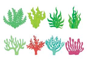 Jeu d'icônes de mauvaises herbes de mer vecteur