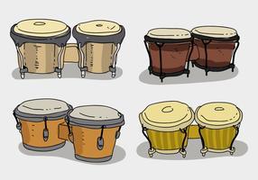 Collection ethnique de bongo Illustration dessinée à la main vecteur