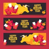bannière de bœuf doré du nouvel an chinois vecteur