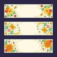 ensemble de bannière de fleurs colorées et belles vecteur