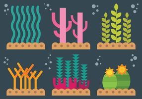 Icônes de vecteur de mauvaises herbes de mer